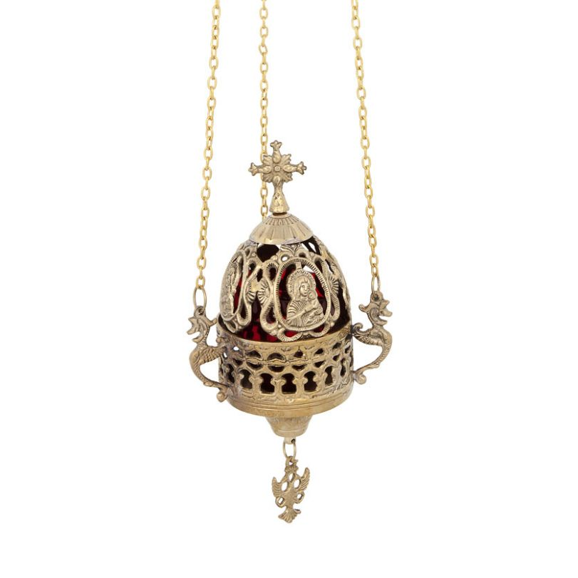 BRONZE CHURCH OIL LAMP WITH CHAIN (195B)