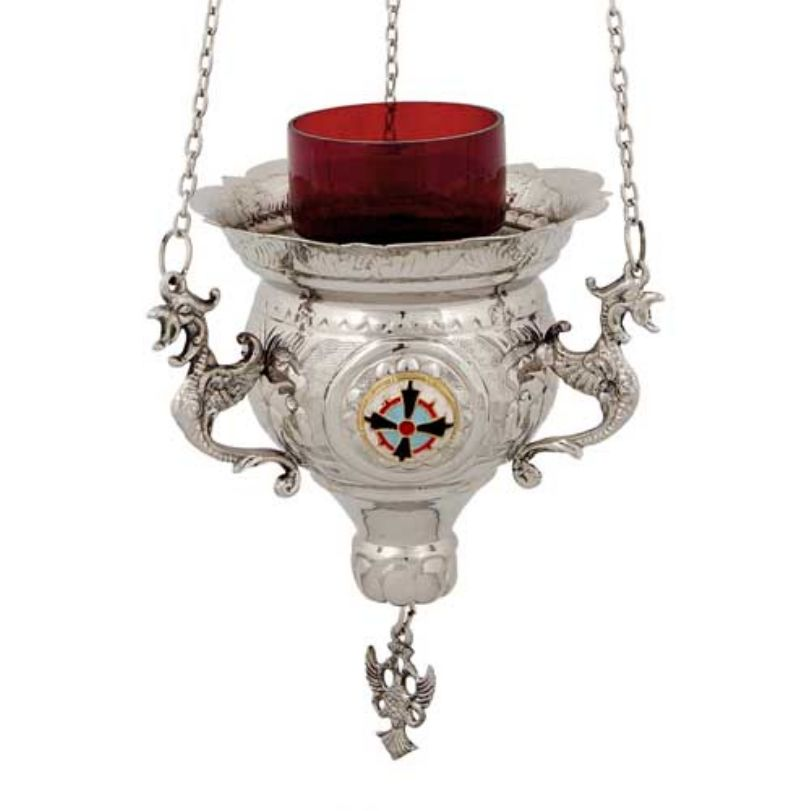 BRONZE CHURCH OIL LAMP WITH CHAIN (231N)
