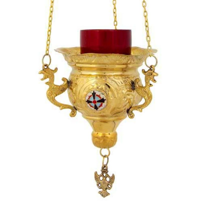 GOLD PLATED BRONZE CHURCH OIL LAMP WITH CHAIN (231G)
