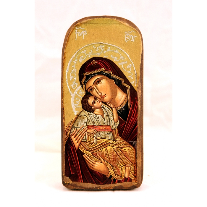 WOODEN ICON 2PO VIRGIN MARY & JESUS CHRIST
