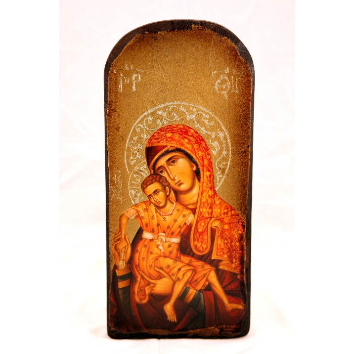 WOODEN ICON 3PO VIRGIN MARY & JESUS CHRIST