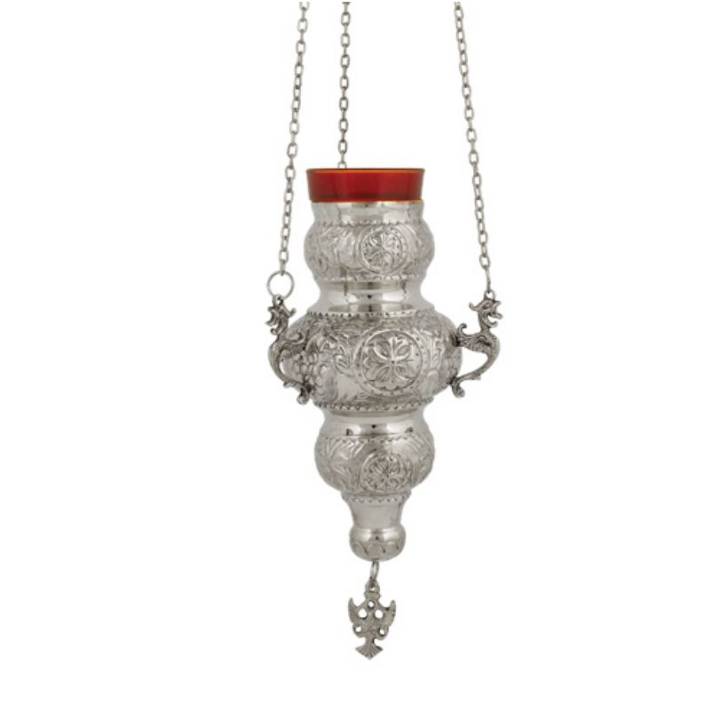 BRONZE CHURCH OIL LAMP WITH CHAIN (409N)