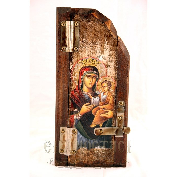 WOODEN ICON WITH VIRGIN MARY AND JESUS CHRIST P5