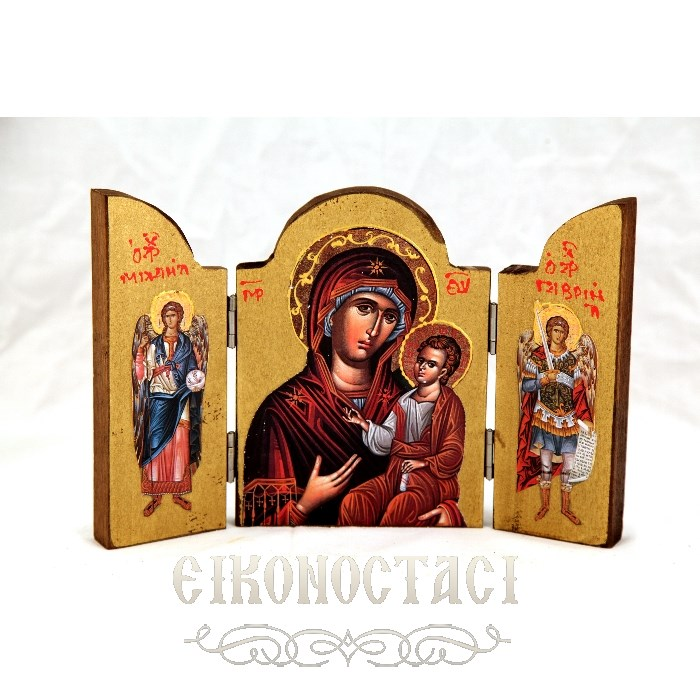 WOODEN ICON TRIPTYCH WITH VIRGIN MARY JESUS CHRIST AND THE ARCHANGELS 1AT