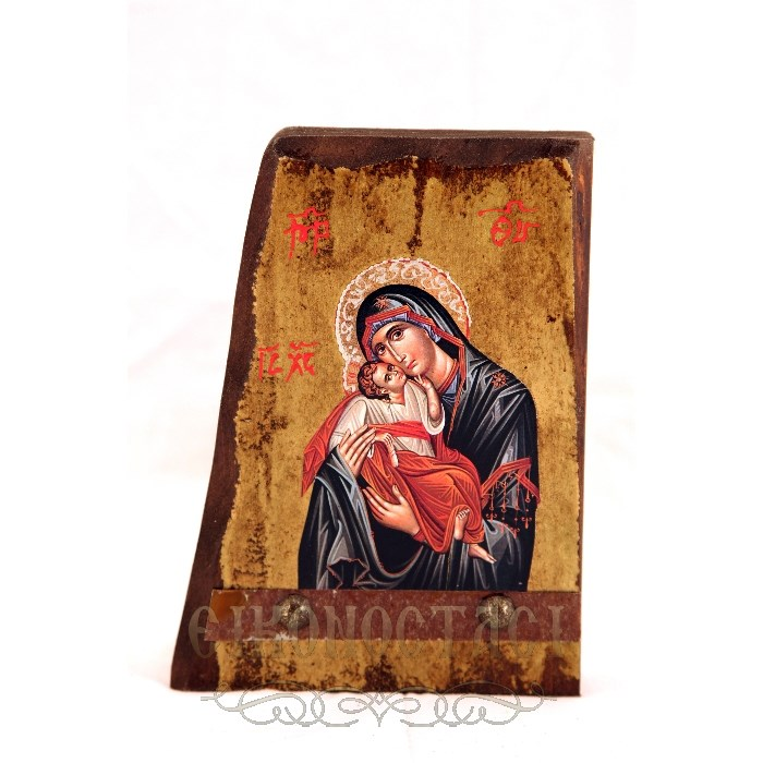 WOODEN ICON B6 VIRGIN MARY & JESUS CHRIST