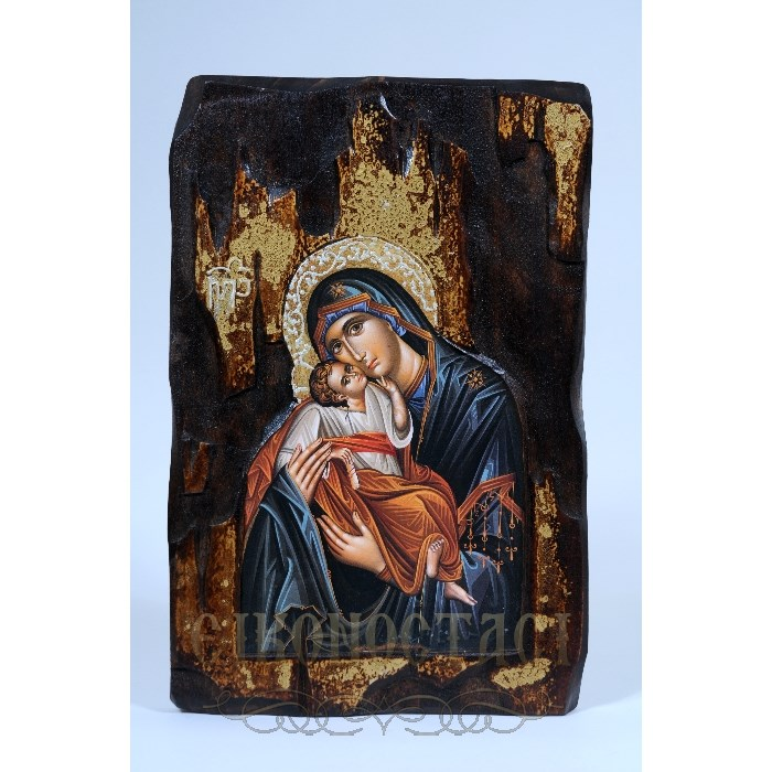 WOODEN ICON AK VIRGIN MARY & JESUS CHRIST