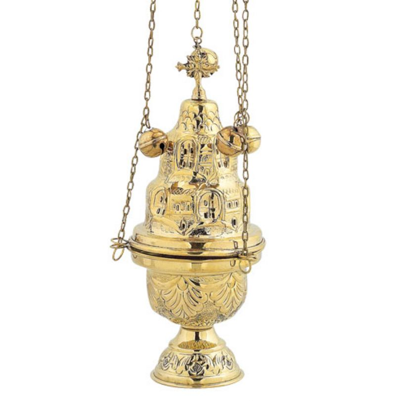 BRONZE GOLD PLATED CHURCH CENSER (9392G)