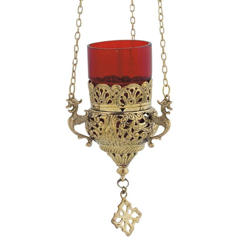 BRONZE CHURCH OIL LAMP WITH CHAIN (9503B)