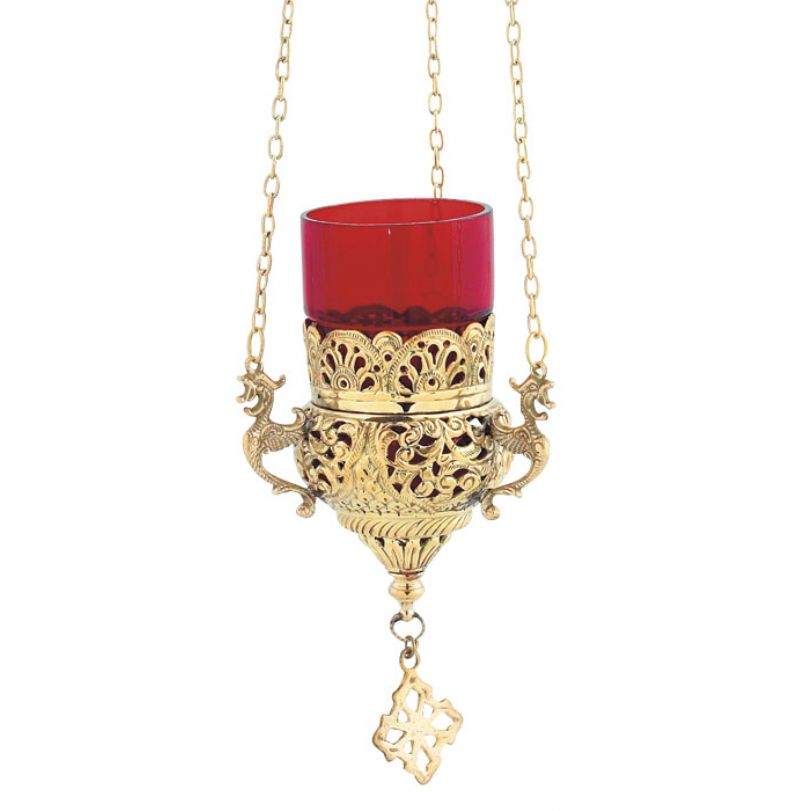 GOLD PLATED BRONZE CHURCH OIL LAMP WITH CHAIN (9503G)