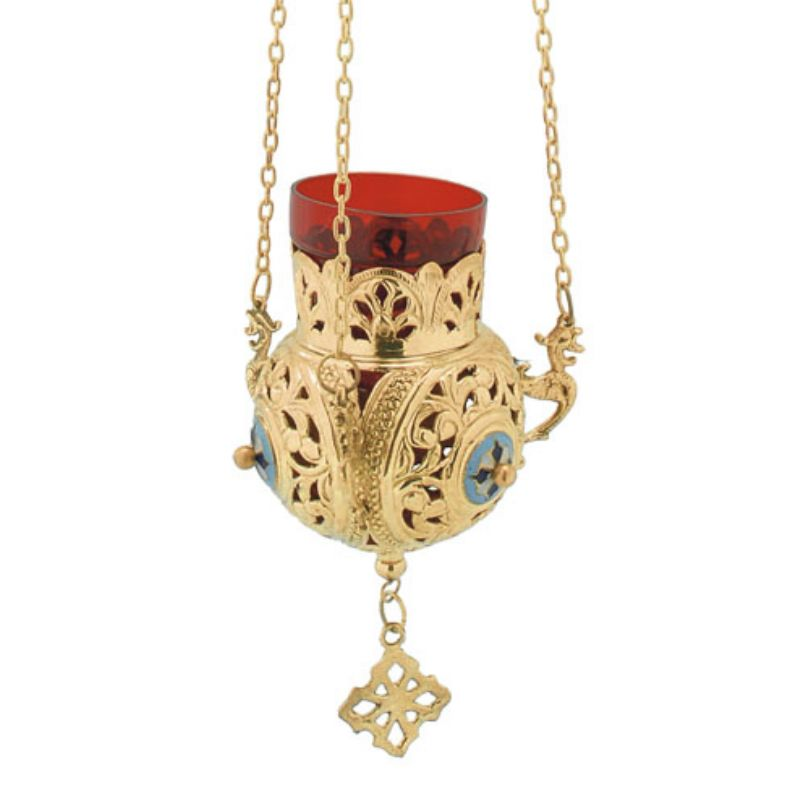 BRONZE,GOLD,PLATED OIL LAMP (9686G)