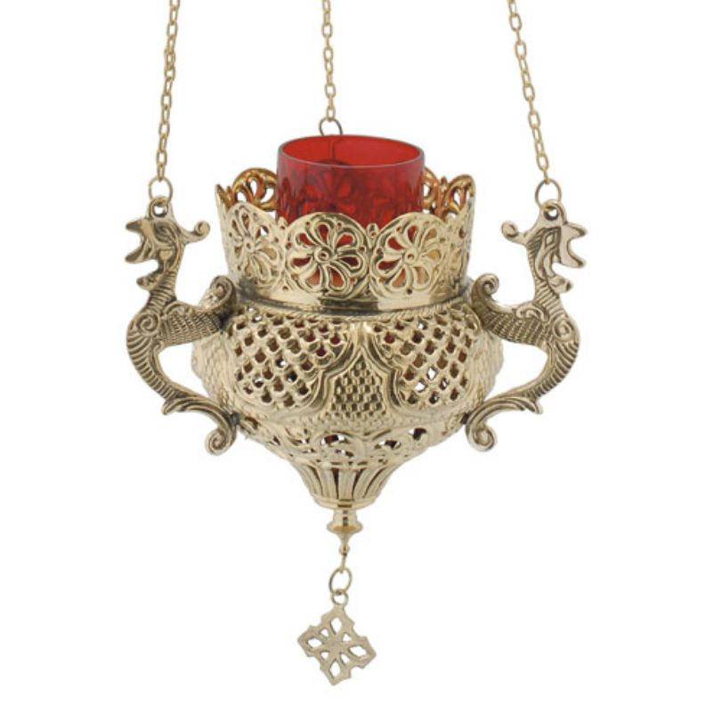 BRONZE CHURCH OIL LAMP WITH CHAIN (9688B)