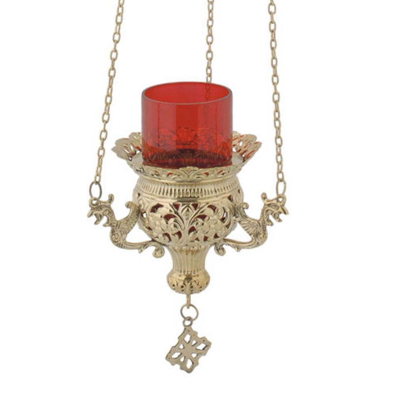 BRONZE CHURCH OIL LAMP WITH CHAIN (9692B)