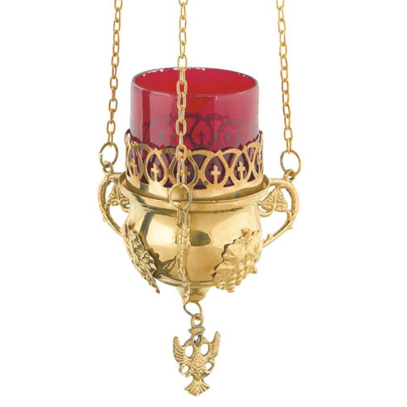 GOLD PLATED BRONZE CHURCH OIL LAMP WITH CHAIN (9768G)