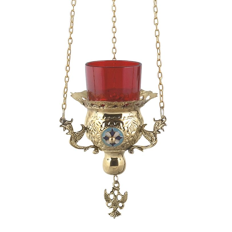 BRONZE CHURCH OIL LAMP WITH CHAIN (9771Β)