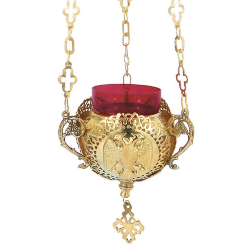 BRONZE,GOLD,PLATED OIL LAMP (9894G)