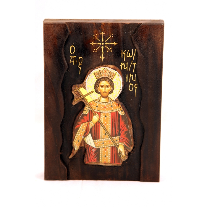 WOODEN ICON SAINT KONSTANTINOS A1
