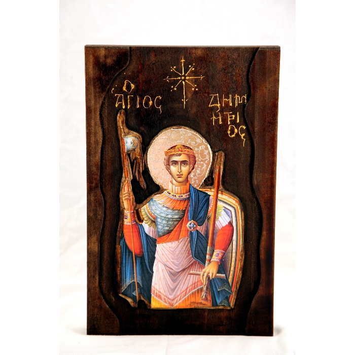 WOODEN ICON A4 SAINT DIMITRIOS