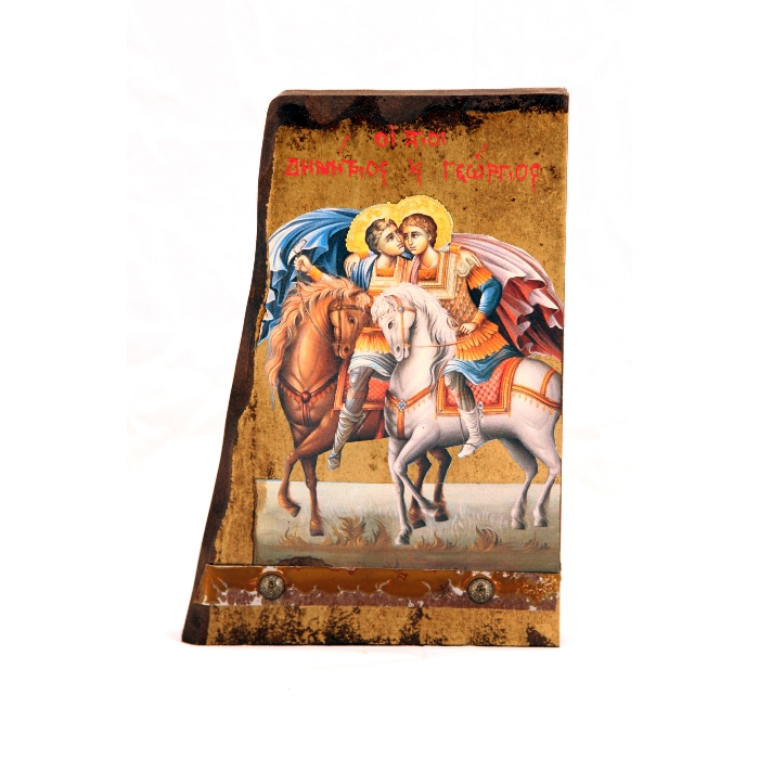 WOODEN ICON SAINT DIMITRIOS & SAINT GEORGE B6 30x14 cm
