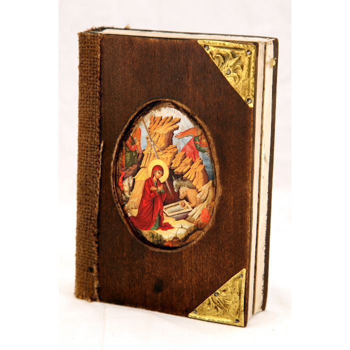 WOODEN ICON BOOK VIRGIN MARY & JESUS CHRIST BD