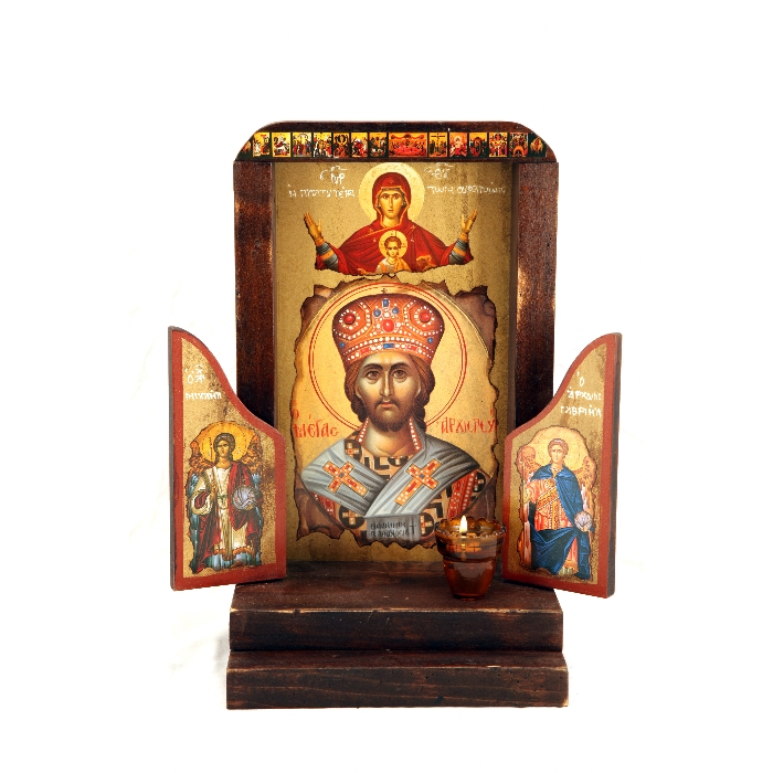 WOODEN ICON VIMOTHIRO WITH VIRGIN MARY, JESUS CHRIST AND ARCHANGELS