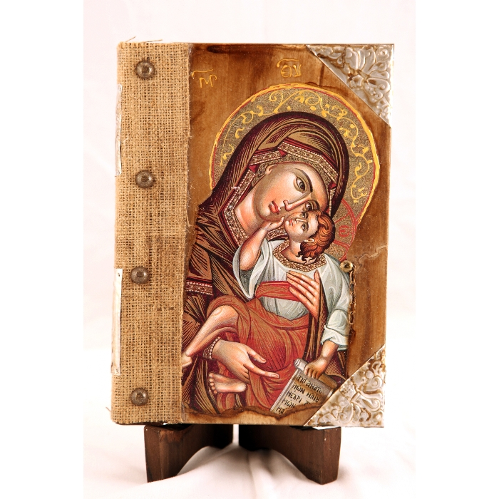 WOOD ICON BOOK 9A WITH VIRGIN MARY AND JESUS CHRIST
