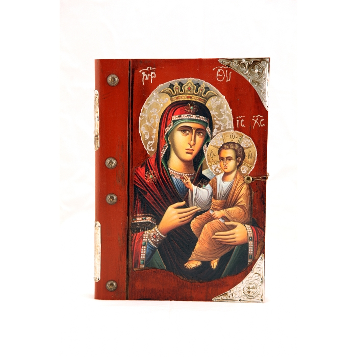 WOODEN ICON BOOK WITH VIRGIN MARY AND JESUS CHRIST 9K