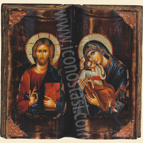 WOODEN ICON BIBLIO d VIRGIN MARY & JESUS CHRIST
