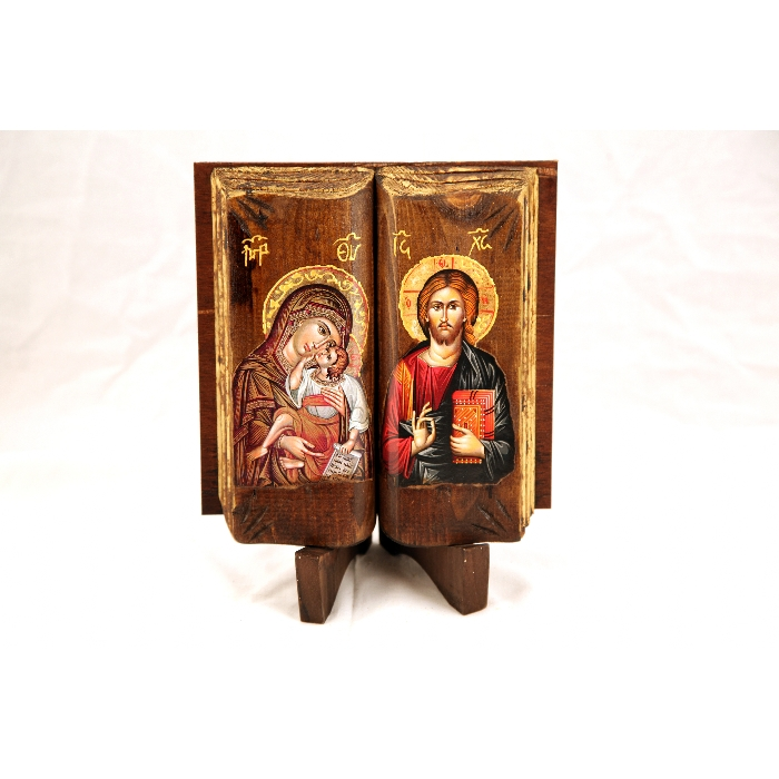 WOODEN ICON LIKE BOOK DK1 VIRGIN MARY & JESUS CHRIST