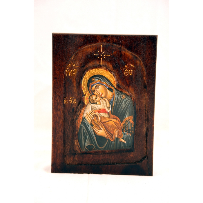 WOODEN ICON D1 VIRGIN MARY & JESUS CHRIST