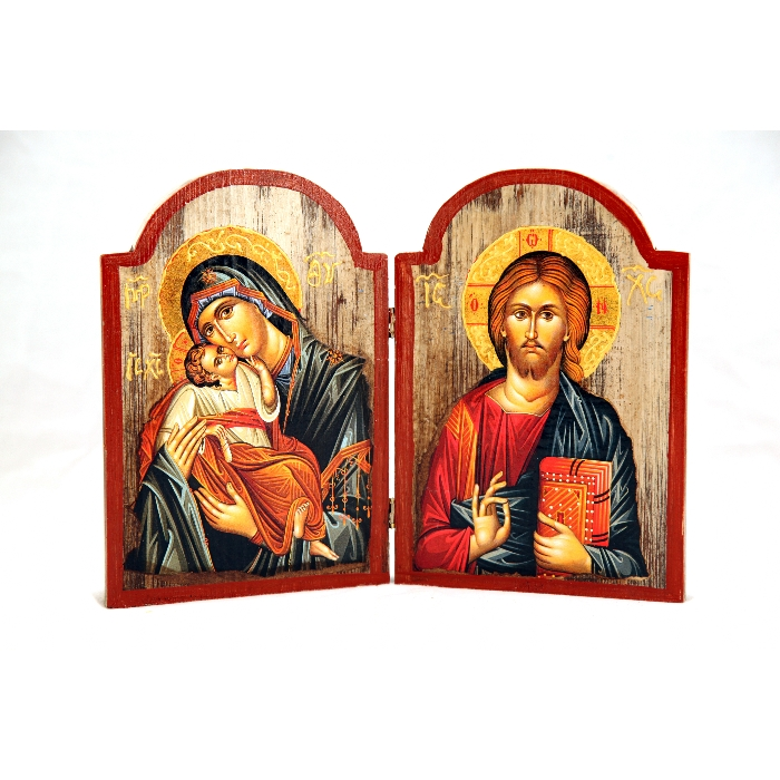 WOODEN DIPTYCH 1L VIRGIN MARY & JESUS CHRIST