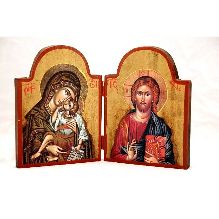WOODEN DIPTYCH VIRGIN MARY & JESUS CHRIST 3X