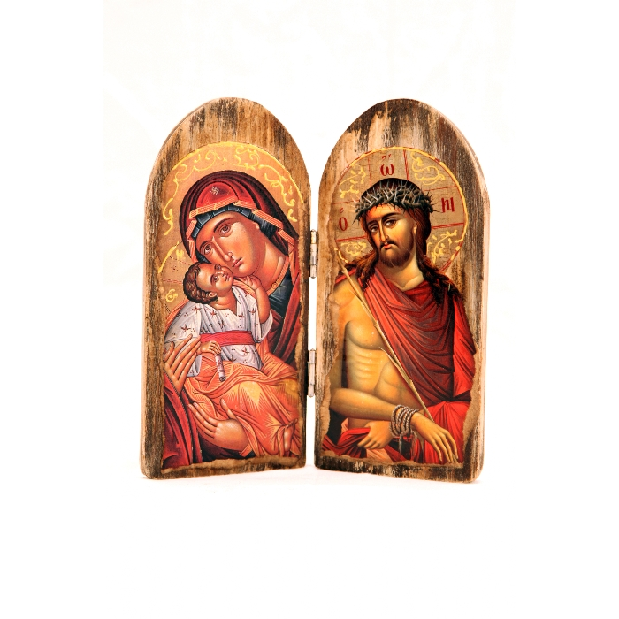 WOODEN DIPTYCH A VERGIN MARY & JESUS CHRIST