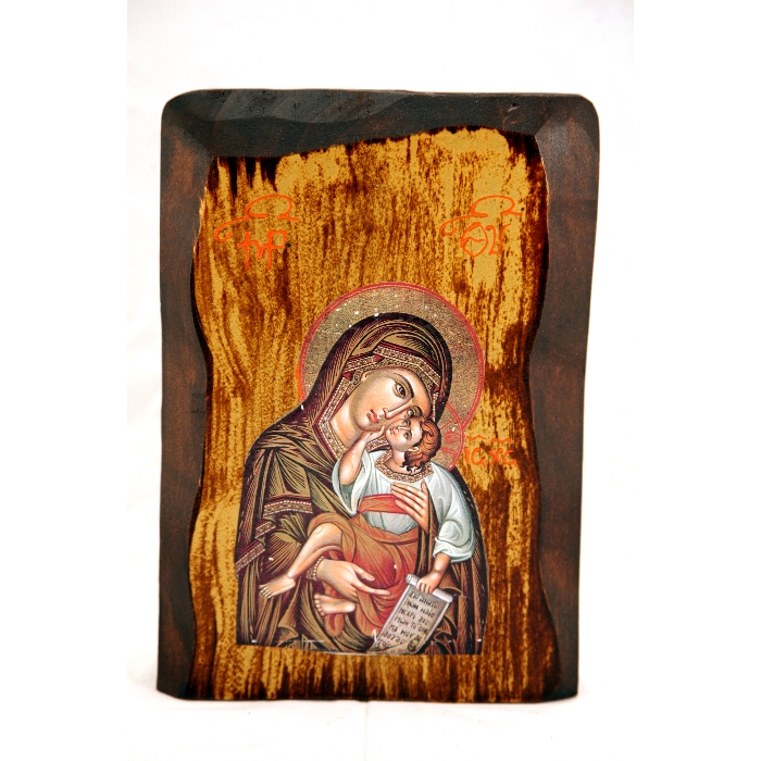 WOODEN ICON F1 VIRGIN MARY & JESUS CHRIST