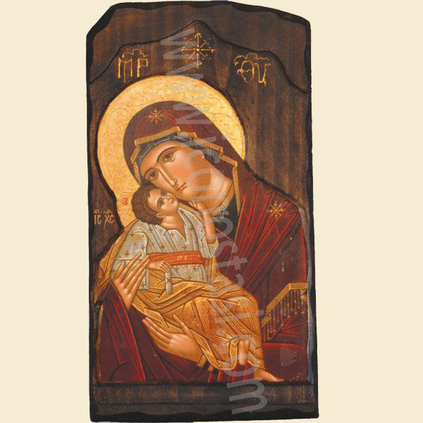 WOODEN ICON G2 VIRGIN MARY & JESUS CHRIST
