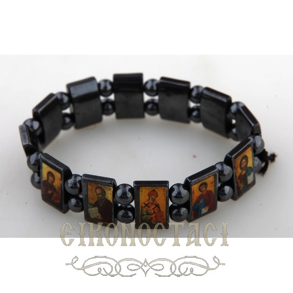 HEMATITE BRACELET WITH SAINTS