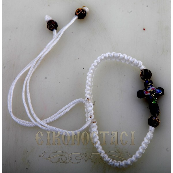 WHITE BRACELET WITH CROSS