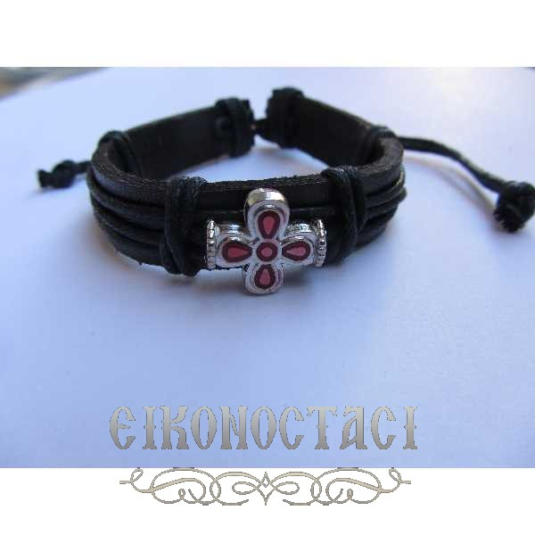 LEATHER BRACELET WITH METALLIC CROSS 2