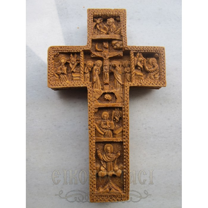 MONASTIC CARVED WAX CROSS AMPELOS