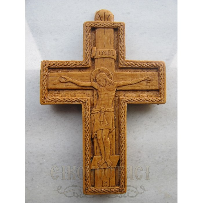 MONASTIC CARVED WAX CROSS BYZANTINE
