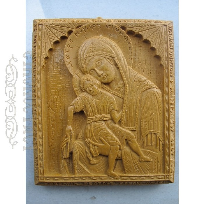 MONASTIC WAX ICON VIRGIN MARY AXION ESTI
