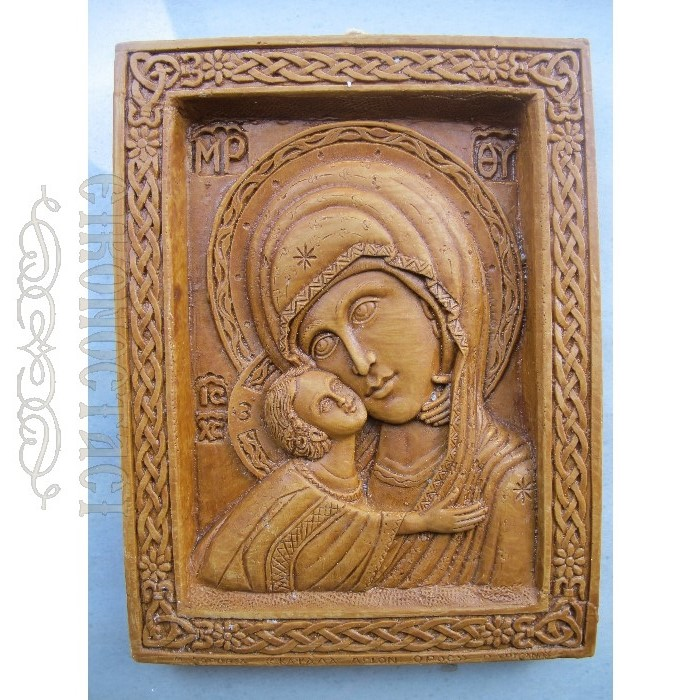 MONASTIC WAX ICON VIRGIN MARY GLYKOFILOUSSA