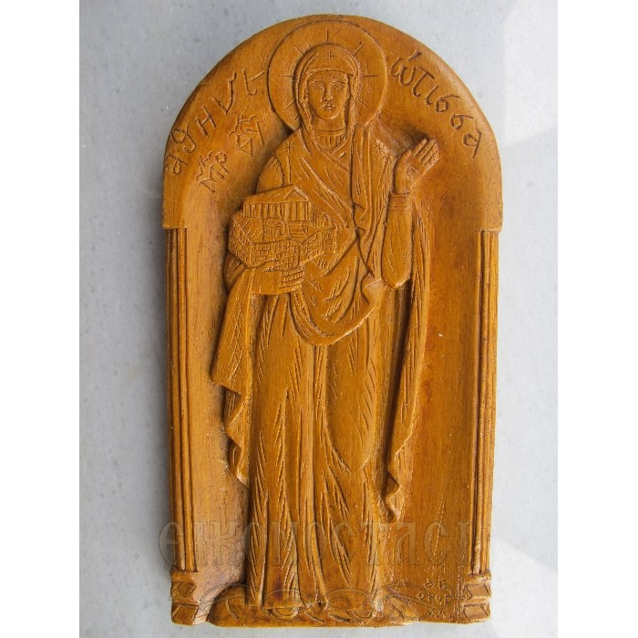 MONASTIC WAX ICON VIRGIN MARY ATHINIOTISSA
