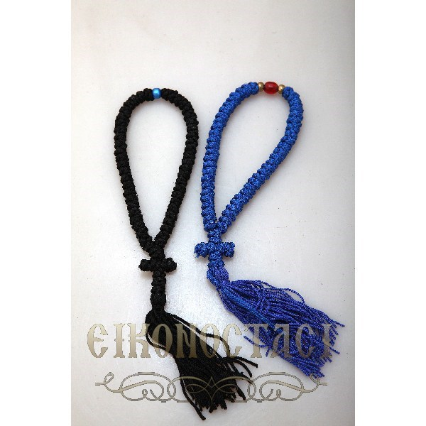 PRAYER ROPE SET 50 KNOTS BLACK - BLUE