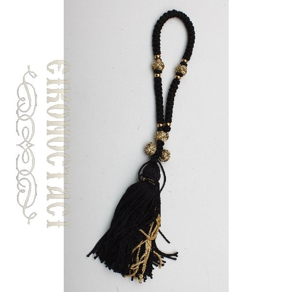 PRAYER ROPE 50 KNOTS BLACK/GOLD