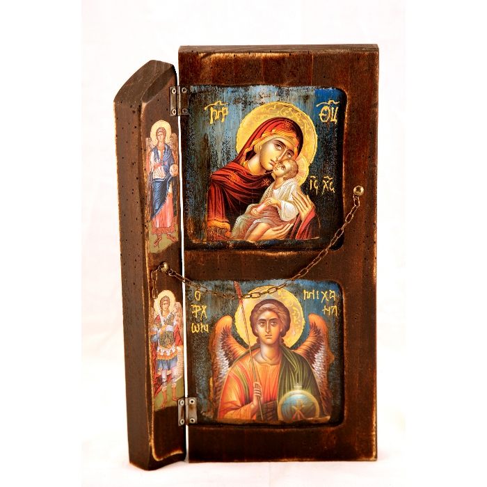 WOODEN ICON WITH VIRGIN MARY AND ARCHANGEL MICHAEL L12