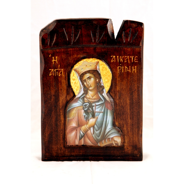 WOODEN ICON SAINT AIKATERINI L2