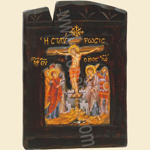 WOODEN ICON THE CRUCIFICTION L4