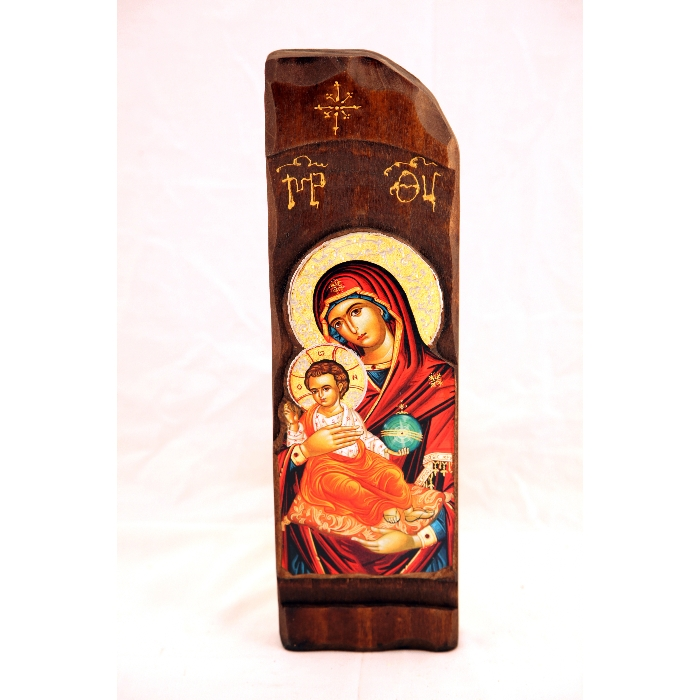 WOODEN ICON WITH VIRGIN MARY N9-B
