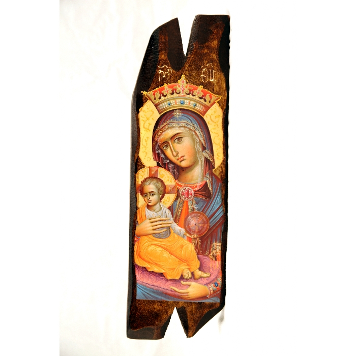 WOODEN ICON N13-B VIRGIN MARY & JESUS CHRIST