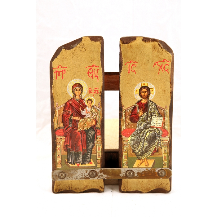 WOODEN ICON WITH VIRGIN MARY AND JESUS CHRIST N15-B